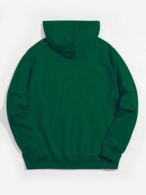 伸援手圖形袋鼠口袋抽繩連帽外套 - 叢林綠色 M Mobile