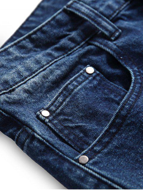 Pantalones Mezclillas Ocasionales de Rasgados con Cremallera - Azul Oscuro de Denim 40 Mobile