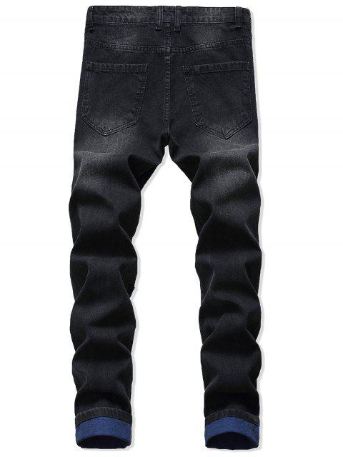 Pantalones Mezclillas Ocasionales de Rasgados con Cremallera - Negro 42 Mobile