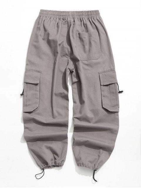 affordable Applique Solid Flap Pocket Cargo Jogger Pants - GRAY L Mobile
