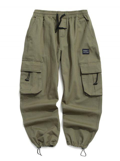 buy Applique Solid Flap Pocket Cargo Jogger Pants - GREEN XL Mobile