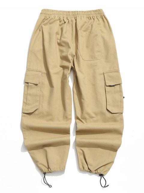 womens Applique Solid Flap Pocket Cargo Jogger Pants - KHAKI M Mobile