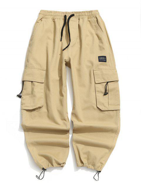shop Applique Solid Flap Pocket Cargo Jogger Pants - KHAKI 2XL Mobile