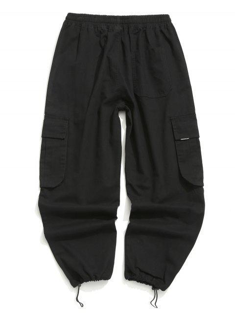 fancy Applique Solid Flap Pocket Cargo Jogger Pants - BLACK 2XL Mobile
