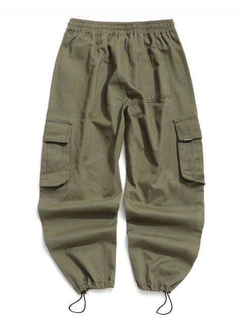 Jogger Pantalones de Cargo de Solapa de Bolsillo de Color Sólido - Verde L Mobile