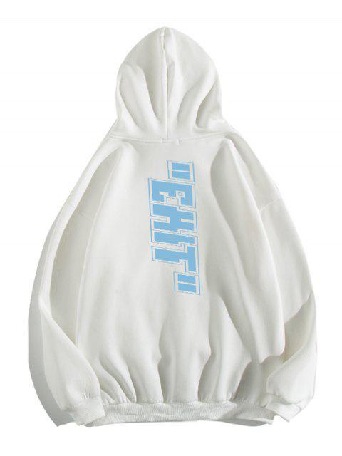 信打印囊袋狀休閒連帽衫 - 白色 L Mobile