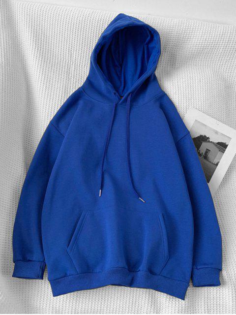 Sudadera con Capucha Casual con Bolsillo y Estampado de Letras - Azul 2XL Mobile