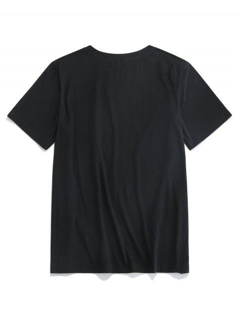 ZAFUL Camiseta de Manga Corta con Estampado de Mano - Negro 2XL Mobile