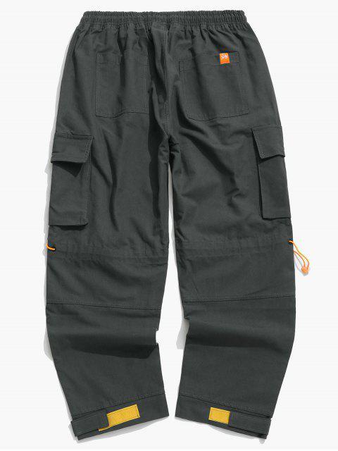 Pantalones de Carga de Bolsillo de Solapa con Hebilla Lateral - Gris 3XL Mobile