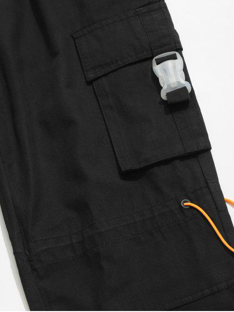 women Side Buckle Flap Pocket Toggle Cargo Pants - BLACK 2XL Mobile