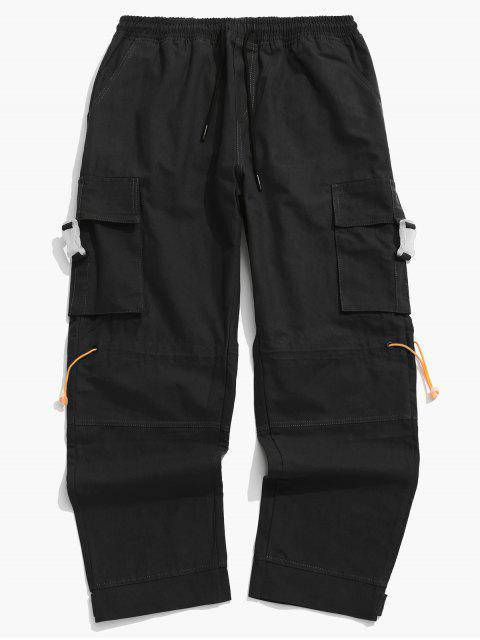 Pantalones de Carga de Bolsillo de Solapa con Hebilla Lateral - Negro 3XL Mobile