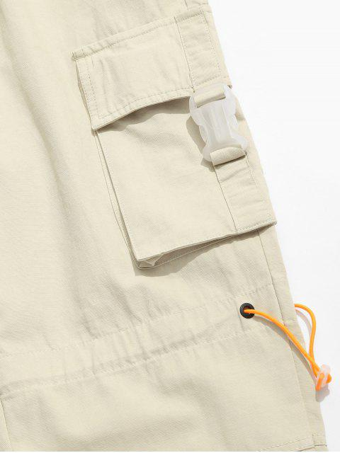 new Side Buckle Flap Pocket Toggle Cargo Pants - KHAKI 3XL Mobile