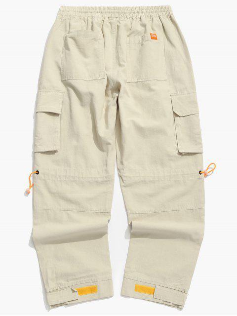 Pantalones de Carga de Bolsillo de Solapa con Hebilla Lateral - Caqui 3XL Mobile