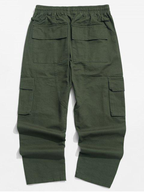 women's Solid Color Flap Pocket Drawstring Cargo Pants - GREEN L Mobile