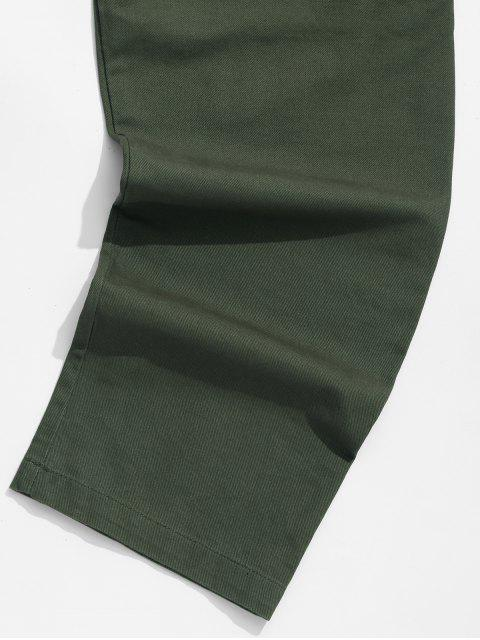 new Solid Color Flap Pocket Drawstring Cargo Pants - GREEN 3XL Mobile