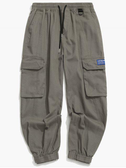 hot Solid Drawstring Applique Cargo Jogger Pants - GRAY L Mobile