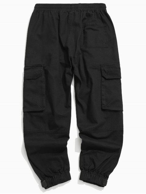 固體抽繩貼花貨物慢跑褲 - 黑色 2XL Mobile