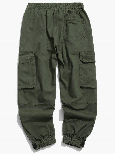 shops Solid Drawstring Applique Cargo Jogger Pants - GREEN 2XL Mobile