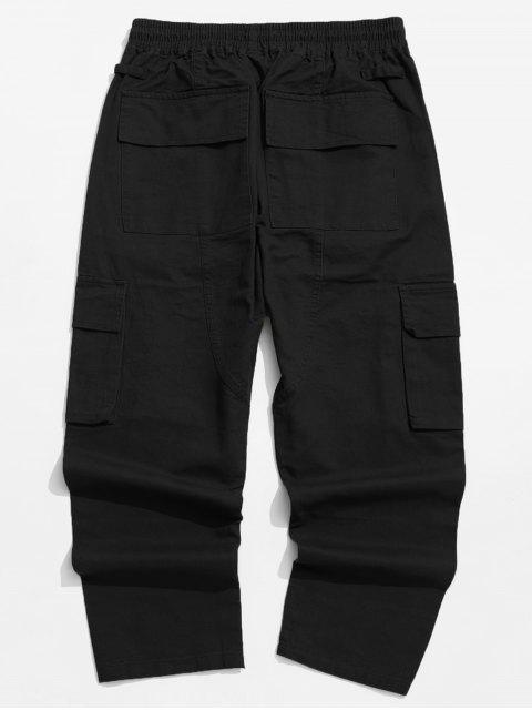 chic Solid Color Flap Pocket Drawstring Cargo Pants - BLACK M Mobile