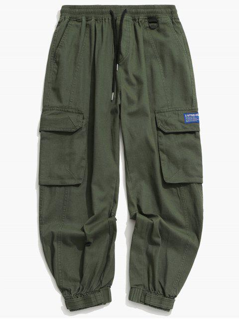 womens Solid Drawstring Applique Cargo Jogger Pants - GREEN M Mobile
