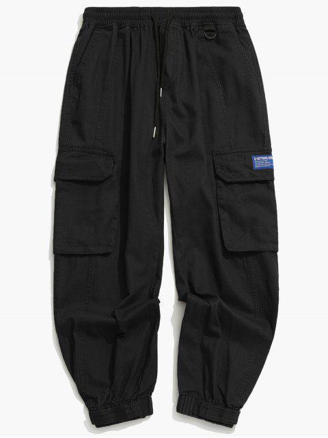 Jogger Pantalones de Cargo de Cordón - Negro L Mobile