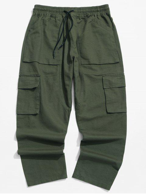 lady Solid Color Flap Pocket Drawstring Cargo Pants - GREEN M Mobile