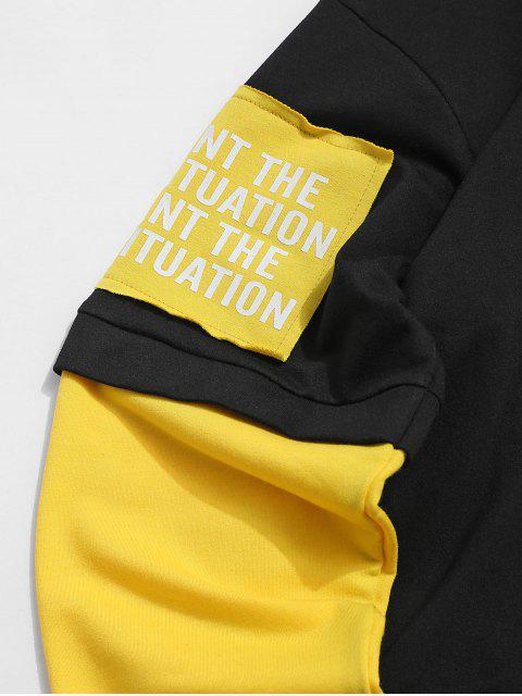 Sudadera Casual con Capucha de Impresión de LetraydeColorEmpalmado - Negro M Mobile