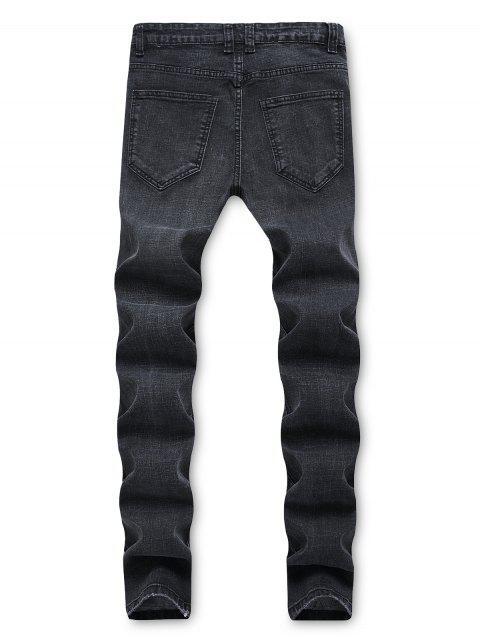 Jeans Rasgados de Remiendo con Cremallera - Negro 34 Mobile