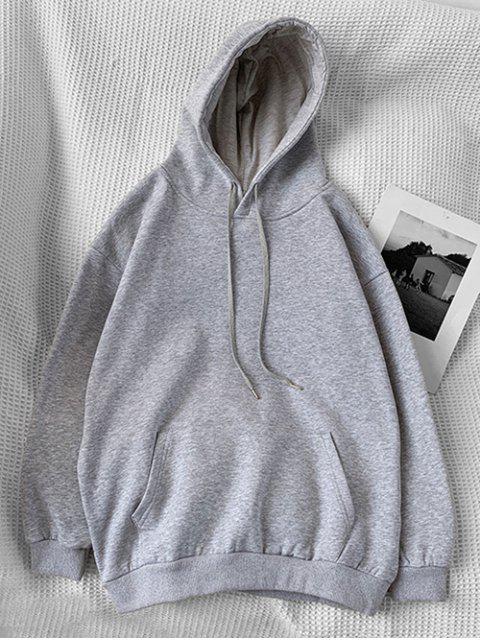 Sudadera con Capucha Casual con Bolsillo y Estampado de Letras - Gris Claro XL Mobile
