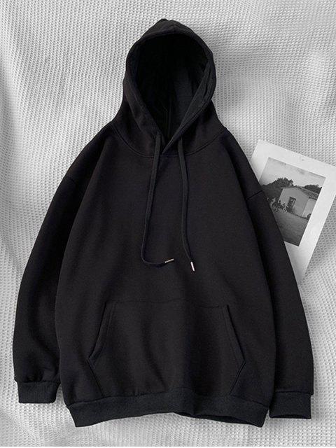 Sudadera con Capucha Casual con Bolsillo y Estampado de Letras - Negro M Mobile
