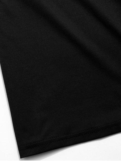 best Short Sleeve Letter Graphic T-shirt - BLACK XS Mobile