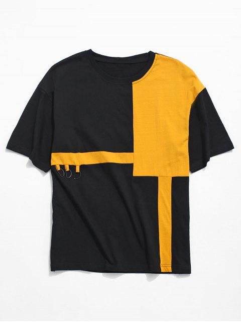 outfit Tucked Away Letter Colorblock Panel T-shirt - BLACK M Mobile