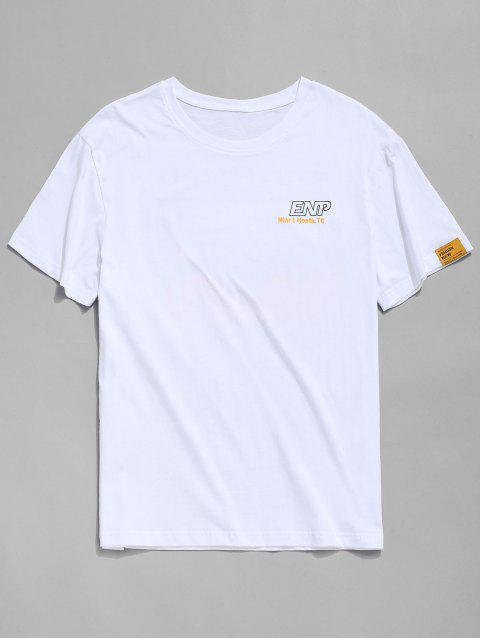 trendy Letter Graphic Print Short Sleeve T-shirt - WHITE L Mobile