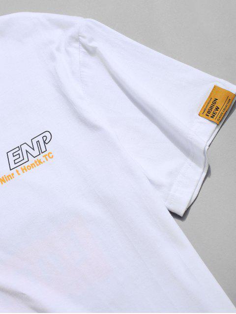 women's Letter Graphic Print Short Sleeve T-shirt - WHITE 4XL Mobile