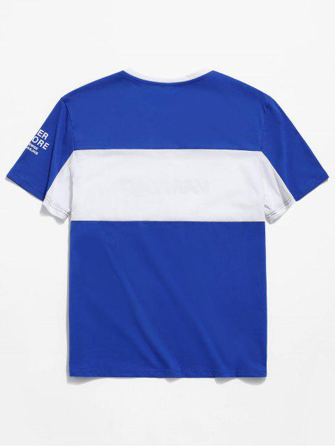 outfits Colorblock Spliced Letter Print Short Sleeve T-shirt - BLUE S Mobile