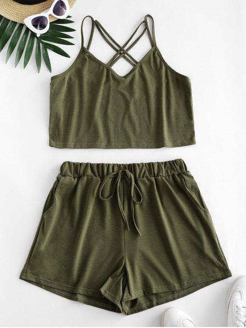 hot Strappy Criss Cross Tie Waist Two Piece Set - ARMY GREEN M Mobile