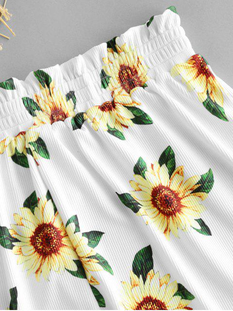 lady ZAFUL Sunflower Ribbed Swim Shorts - WHITE S Mobile