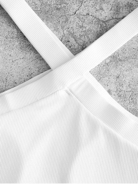 ZAFUL Bikini-Topmit V Ausschnitt und Rippen - Weiß M Mobile