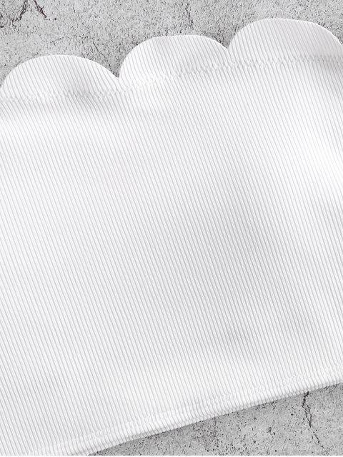 ZAFUL Ditsydruck Einziger Schulter Tankini Set - Weiß L Mobile
