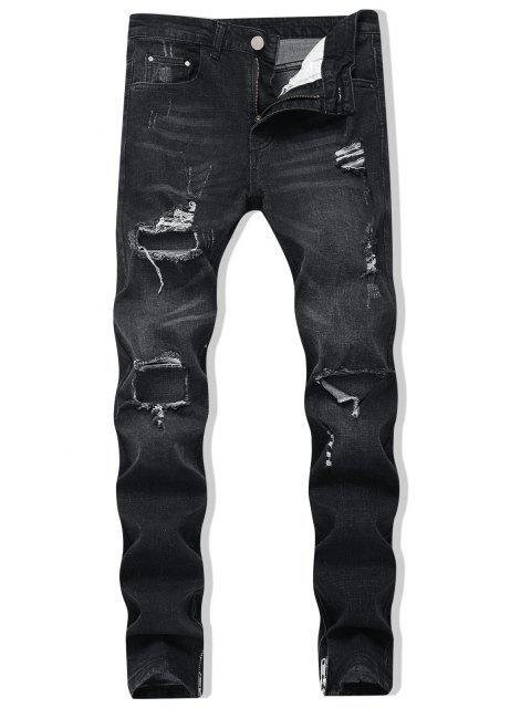 online Zipper Skinny Destroyed Jeans - BLACK 38 Mobile