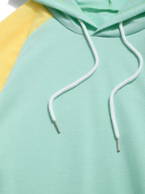 Sweat à Capuche en Blocs de Couleurs Jointif à Manches Raglan à Cordon - Turquoise Moyenne  S Mobile