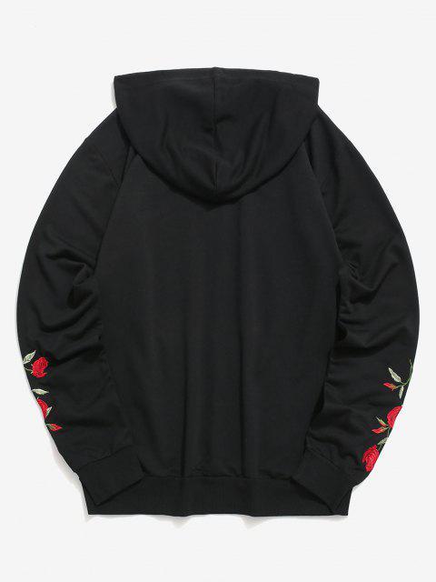 Orientalische Hoodie mit Stickerei - Schwarz XL Mobile