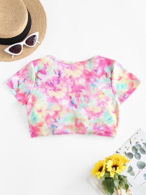 ZAFUL Tie Dye Padded Ruched T-shirt Bikini Top - متعددة-A S Mobile