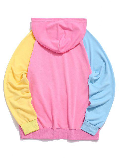 best Raglan Sleeve Colorblock Spliced Drawstring Hoodie - HOT PINK M Mobile
