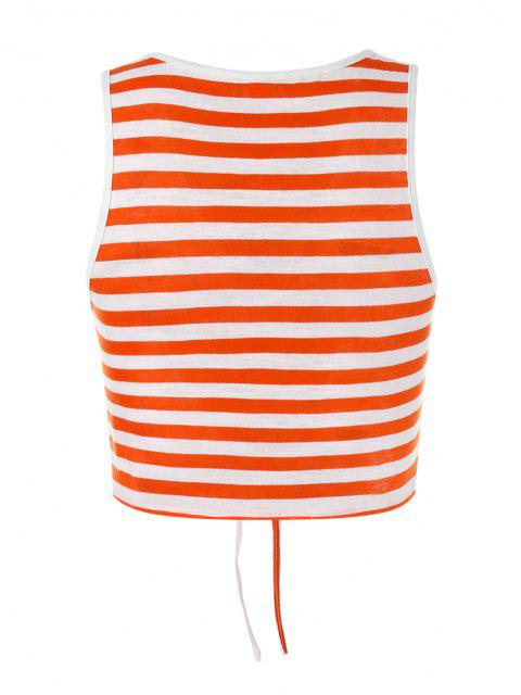 lady ZAFUL Striped Tie Front Crop Top - ORANGE S Mobile