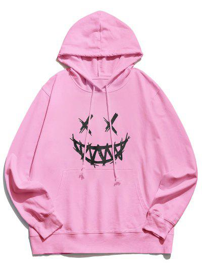 Happy Face Graphic Pouch Pocket Casual Hoodie - Pink L