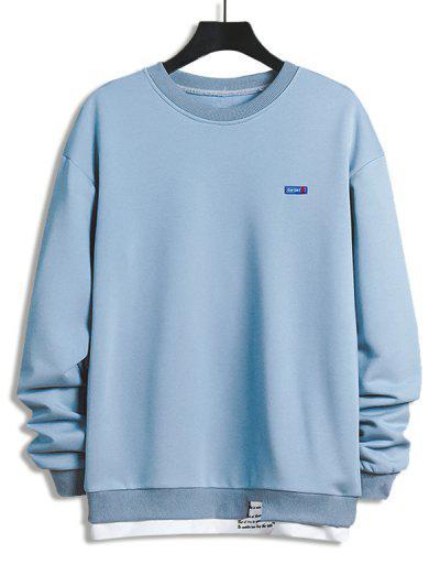 Sweat-Shirt Lettre Imprimée Jointif En Blocs De Couleurs - Bleu Ciel Léger  M