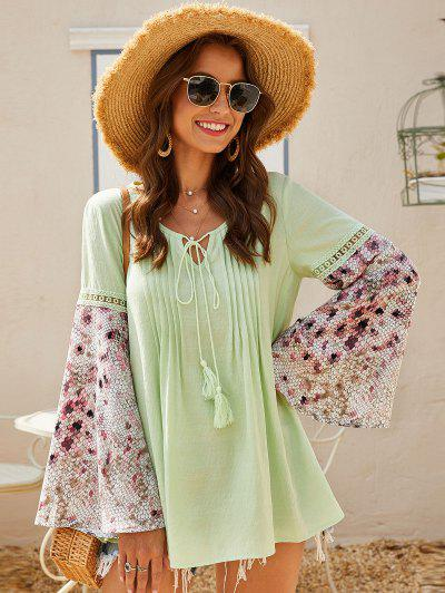 ZAFUL Pintuck Tie Bell Sleeve Peasant Blouse - Salad Green L