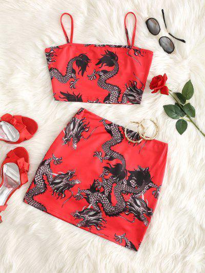 Dragon Print Oriental Fusta Mini Set - Roșu S