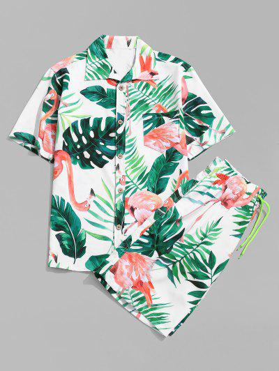 Flamingo Leaf Print Shirt And Shorts - White M
